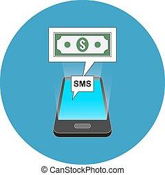 isométrique, smartphone, concept., sms, transaction, design.
