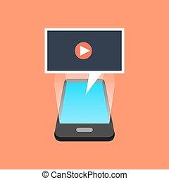 isométrique, smartphone, concept., vidéo, jouer, design.