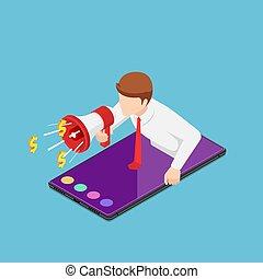 isométrique, smartphone, haut, cris, homme affaires, porte voix, sortir