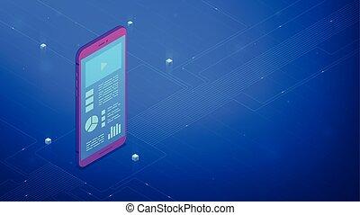 isométrique, smartphone, illustration., vecteur, interface, 3d, design.