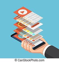 isométrique, smartphone, mobile, couche, main, application, tenue, interface, homme affaires