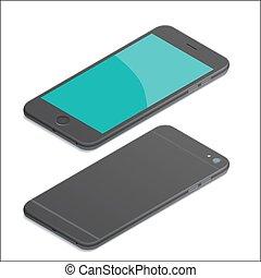 isométrique, smartphone, noir, illustration
