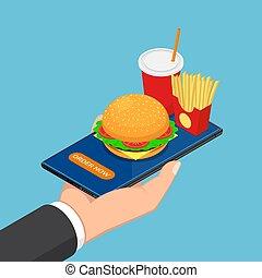 isométrique, smartphone, nourriture, jeûne, possession main, homme affaires