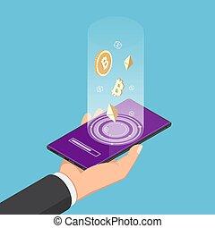 isométrique, smartphone, symbole, main, cryptocurrency, tenue, homme affaires