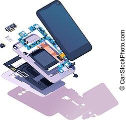 isométrique, smartphone, vecteur, démonté
