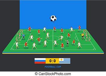 isométrique, sport, teams., coloré, champ, positions, football, différent, thème, sports, joueurs, partition, stadium., champ, football, table., jouer, soccer., 3d