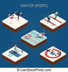 isométrique, sports, composition, hiver