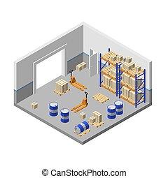 isométrique, stockage, entrepôt, usine, vecteur, entrepôt, 3d