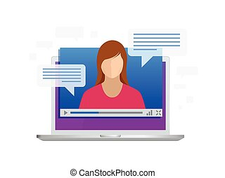 isométrique, streaming., formation, laptop., leçons, vidéo, apprentissage, languages., ou, vue