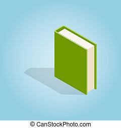 isométrique, style, livre, vert, icône, 3d