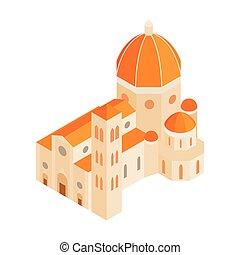 isométrique, style, romain, cathédrale, icône, 3d