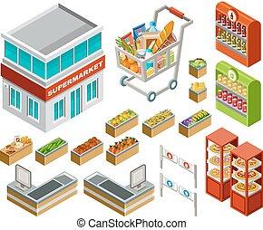 isométrique, supermarché