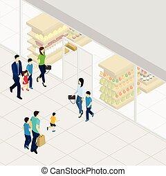 isométrique, supermarché, illustration
