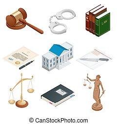 isométrique, symbols., icônes, justice, public, isolé, illustration, themis., balances, vecteur, menotte, papier, juge, lawbook, marteau