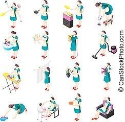 isométrique, torturé, femme foyer, icônes