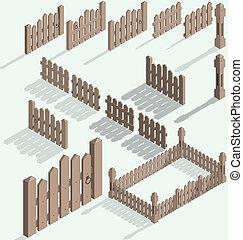 isométrique, vecteur, barrière