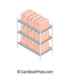 isométrique, vecteur, boîtes, illustration, etagères