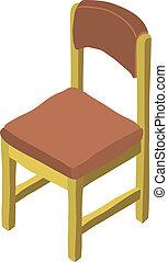 isométrique, vecteur, dessin animé, chaise bois, icon.
