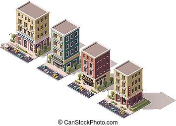 isométrique, vecteur, ensemble, bâtiments