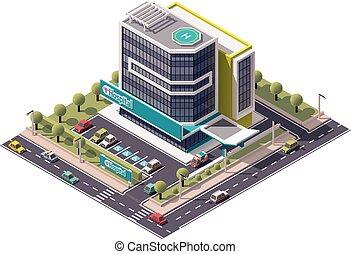 isométrique, vecteur, hôpital