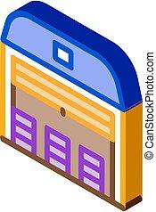 isométrique, vecteur, icône, stockage, garage, illustration