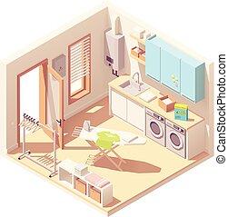 isométrique, vecteur, salle lessive