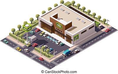isométrique, vecteur, supermarché