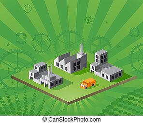 isométrique, vecteur, usine