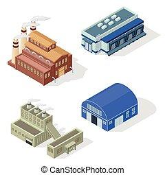 isométrique, vecteur, usine, set.
