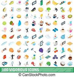 isométrique, vigoureux, icônes, ensemble, style, 100, 3d