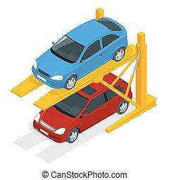 isométrique, voiture, ascenseurs hydrauliques, parking., souterrain