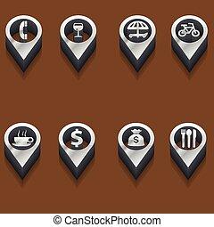 isome, viagem, pretas, branca, icons.