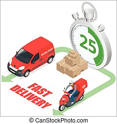 Isomertic Delivery service concept. Fast delivery truck, fast delivery motobike, stopwatch. Vector 3d isometric illustration