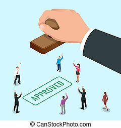 Isometirc concept Hand of business man stamping approved word on a paper. Approved stamp flat vector isometric illustration