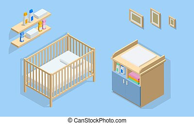 Isometirc interior furniture for baby room. Cot, changing table, wall shelf and photo frames. Icons of wooden furniture.