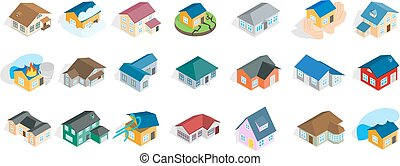 isometric, állhatatos, épület, modern, mód, ikon