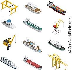 isometric, állhatatos, ikonok, tenger, edény, folyó