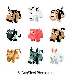 isometric, állhatatos, különböző, animals., karikatúra, sf, 3