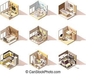 isometric, állhatatos, poly, vektor, alacsony, otthon, lakás