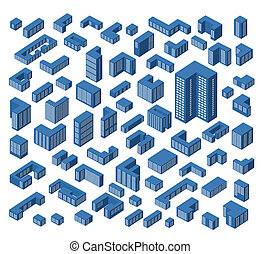 isometric, épületek