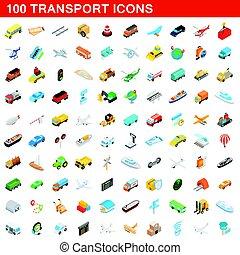 isometric, ícones, jogo, estilo, 100, transporte, 3d