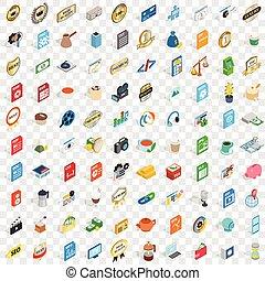 isometric, ícones, jogo, estilo, estúdio, 100, 3d