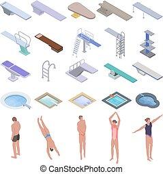 isometric, ícones, jogo, estilo, tábua, mergulhar