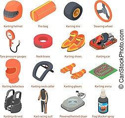 isometric, ícones, jogo, karting, estilo, equipamento
