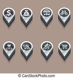 isometric, ícones, viagem, pretas, branca, pessoas.
