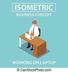 isometric, övé, dolgozó, laptop, íróasztal, üzletember