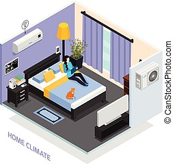 isometric , έκθεση , κλίμα , σπίτι