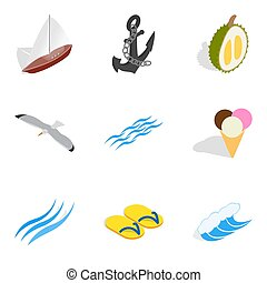 isometric , απεικόνιση , θέτω , ρυθμός , αύρα , θάλασσα