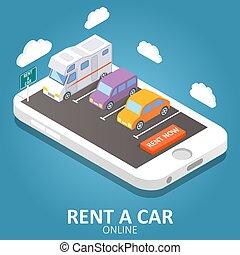 isometric , αυτοκίνητο , εικόνα , μικροβιοφορέας , online , ενοίκιο