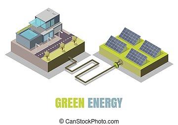 isometric , γενική ιδέα , ενέργεια , εικόνα , μικροβιοφορέας , πράσινο